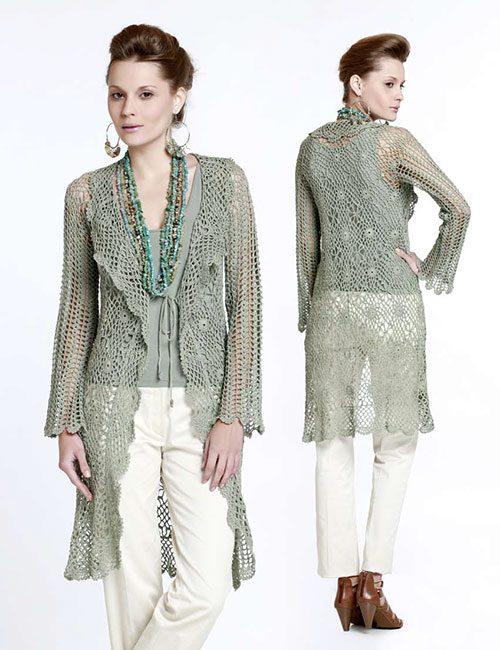 abrigo verde a crochet