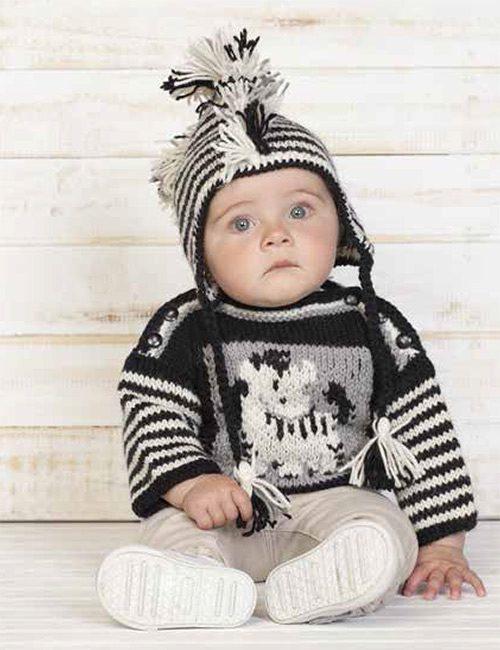 sweater bebe y gorro de cebra