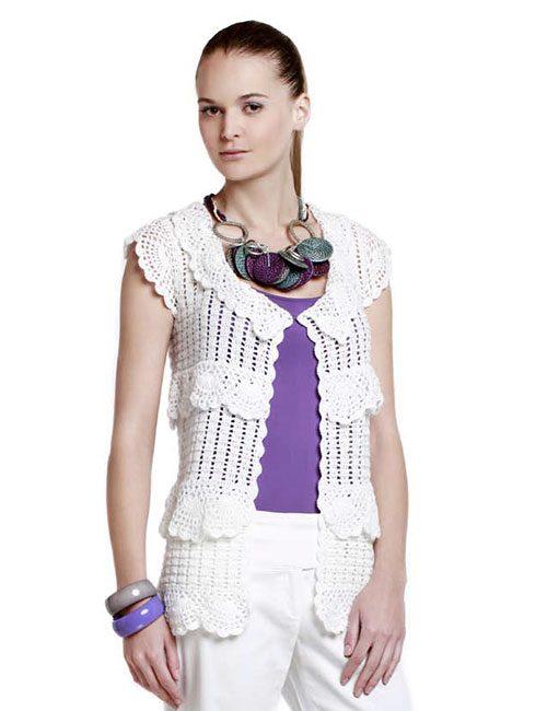 chaleco sin mangas blanco a crochet