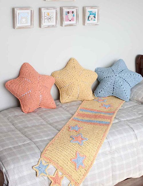 cojín de estrella y manta a crochet