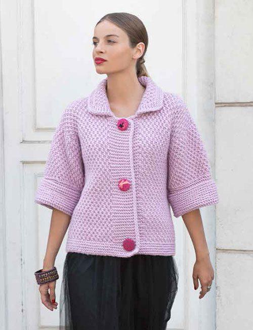 chaqueta rosa a palillos