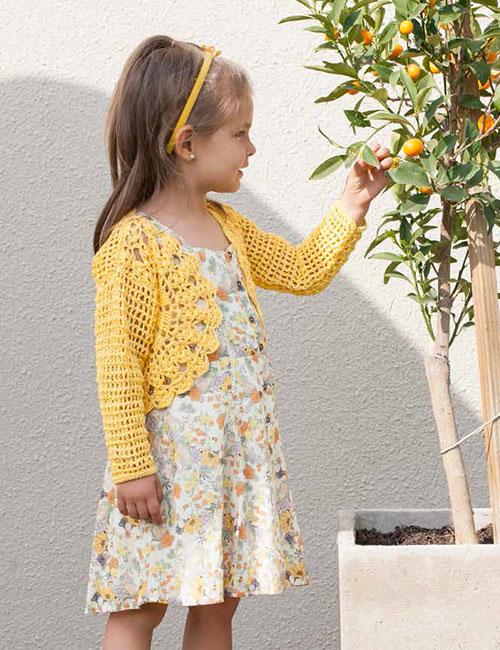 bolero niña amarillo a crochet