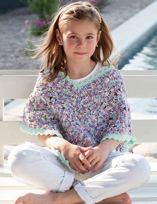 poncho niña círculos a crochet