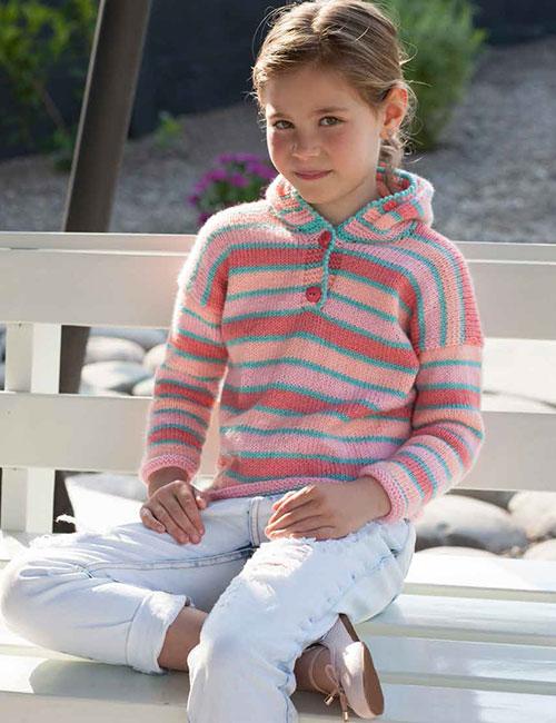 sweater niña rayas con capucha