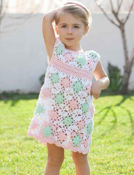vestido niña flores a crochet