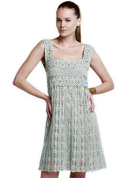 vestido color menta a crochet