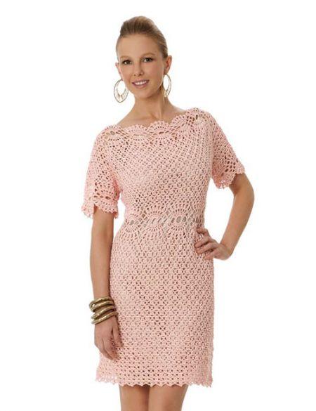 vestido rosado a crochet