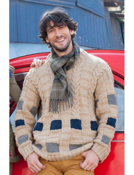 Patrón de tejido sweater con cuadros