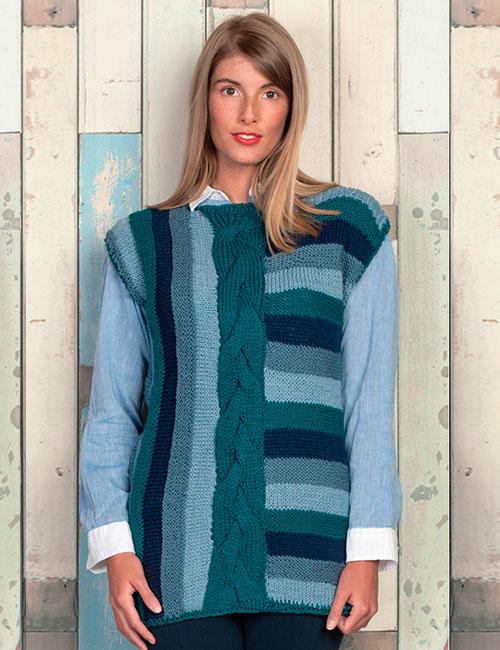 sweater azul trenzas