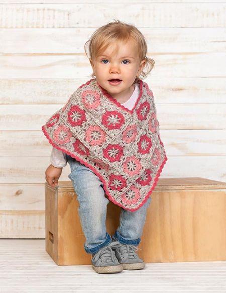 patrón de ponchito con flores a crochet