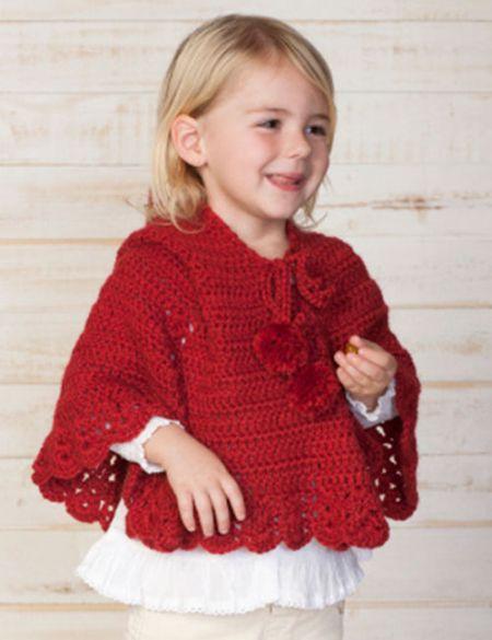 capa roja a crochet para niña