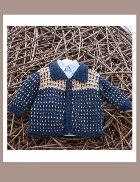 Chaleco a crochet con cuello y puntos para bebé